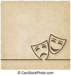 comedia, viejo, plano de fondo, máscaras, tragedia