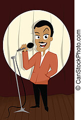 African American stand up comedian performing on the stage vector cartoon illustration