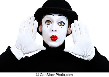 comedian - Portrait of a male mime artist. Isolated over...