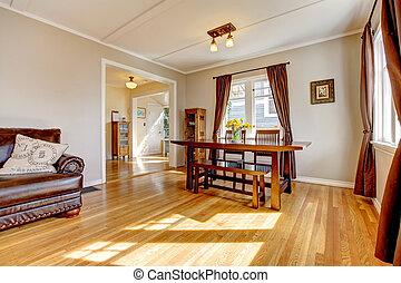 comedor, con, marrón, cortina, y, madera dura, floor.