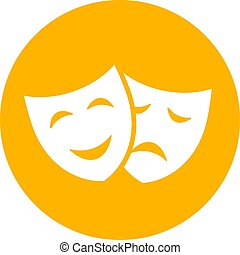 Comedy and drama face mask icon