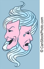 Comedy and tragedy actor masks for theatre culture and acting arts. Illustration of happy and sad entertainment cinema movies concept. Vector symbol of acting performance. Drama stage performance