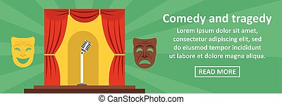 Comedy and tragedy banner horizontal concept. Flat...