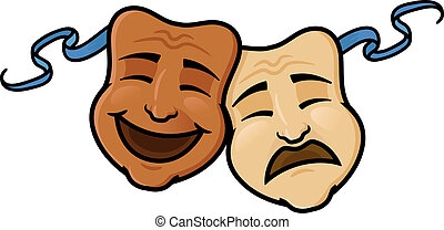 Comedy and Tragedy - Two comedy and tragedy masks,happy and...