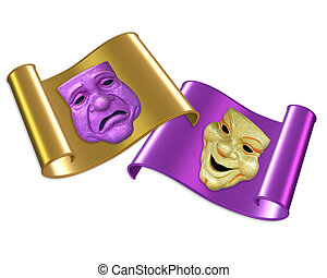 Comedy and tragedy masks - Mardi Gras or theater comedy and...