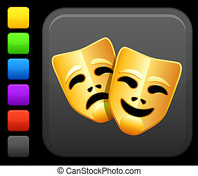 comedy and tragedy masks icon on square internet button -...