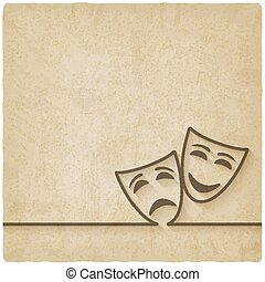 comedy and tragedy masks old background - vector...