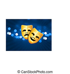 comedy and tragedy masks on blue glow background