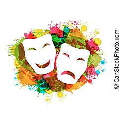 Illustration comedy and tragedy simple masks for Carnival on colorful grunge background - vector