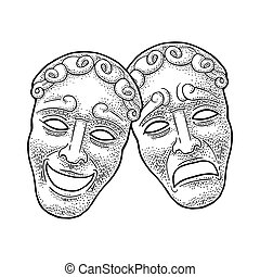 Comedy and tragedy theater masks. Vector engraving vintage black illustration