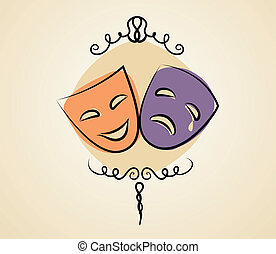 Comedy and tragedy theater masks. Vector illustration in vintage colors