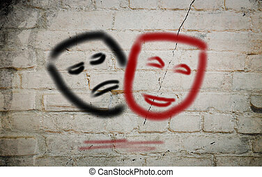 Comedy And Tragedy Theatrical Masks Concept