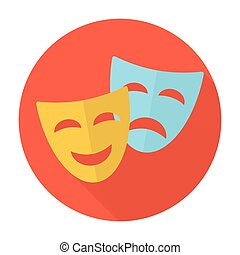 Comedy and tragedy theatrical masks. Flat icons