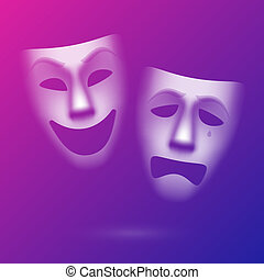Comedy and tragedy theatrical masks illustration