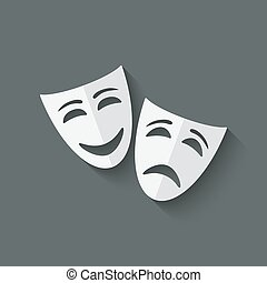 comedy and tragedy theatrical masks - vector illustration. ...