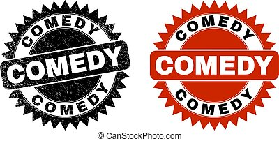 Black rosette COMEDY seal stamp. Flat vector grunge seal stamp with COMEDY text inside sharp rosette, and original clean template. Imprint with scratched texture.