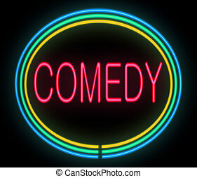 Comedy concept. - Illustration depicting a neon signage with...