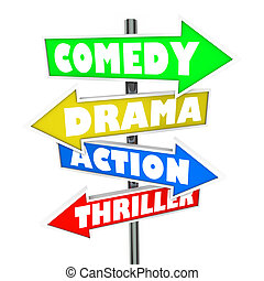 Comedy Drama Action Thriller Movie Genre Signs - Comedy, ...