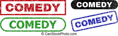 COMEDY grunge seal stamps. Flat vector grunge watermarks with COMEDY slogan inside different rectangle and rounded forms, in blue, red, green, black color variants. Watermarks with unclean style.