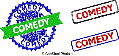 Bicolor COMEDY seal stamps. Green and blue COMEDY seal stamp with sharp rosette and ribbon design elements. Rounded rough rectangular framed COMEDY seal stamps in red, blue, black colors,