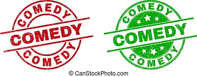 Round COMEDY seal stamps. Flat vector grunge seal stamps with COMEDY phrase inside circle and lines, in red and green colors. Rubber imitations with grunge texture.