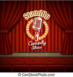 Comedy show theater scene with red curtains vector realistic illustration