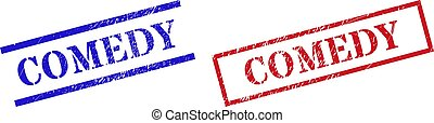 Grunge COMEDY rubber stamps in red and blue colors. Stamps have distress texture. Vector rubber imitations with COMEDY text inside rectangle frame, or parallel lines.