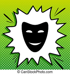 Comedy theatrical masks. Black Icon on white popart Splash at green background with white spots. Illustration.