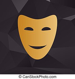 Comedy theatrical masks. Golden style on background with polygons.