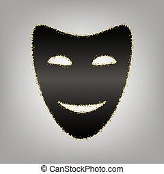 Comedy theatrical masks. Vector. Blackish icon with golden...