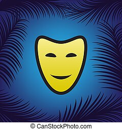 Comedy theatrical masks. Vector. Golden icon with black contour