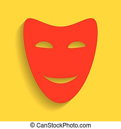 Comedy theatrical masks. Vector. Red icon with soft shadow on golden background.