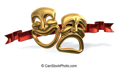Comedy Tragedy - A 3d rendering of the classic...