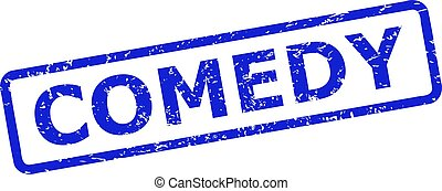 Blue COMEDY stamp on a white background. Flat vector grunge stamp with COMEDY message is inside rounded rectangle frame. Watermark with grunge style.
