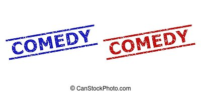 Blue and red COMEDY watermarks on a white background. Flat vector grunge watermarks with COMEDY text between parallel lines. Watermarks with distress texture.