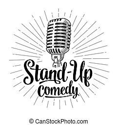 comedy., wektor, tekst, lettered, rocznik wina, microphone., stand-up, rytownictwo, ilustracja