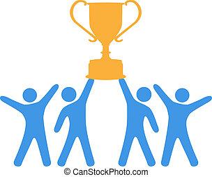 comemorar, esforço equipe, ganhar, troféu