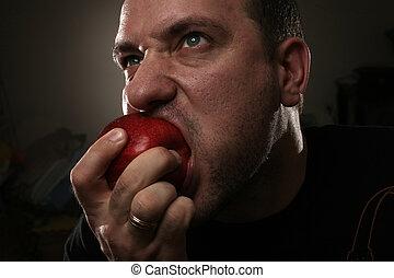 comendo maçã, vermelho, homem