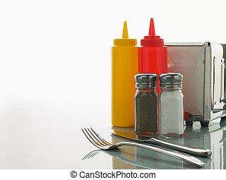 comensal, tabla, con, dulce, condimentos