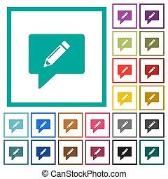 comentário, apartamento, ícones, cor, escrita, quadrante, bordas