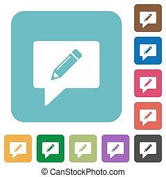 comentário, apartamento, quadrado, arredondado, ícones, escrita