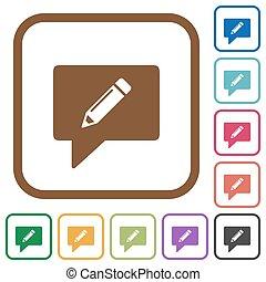 comentário, simples, escrita, ícones