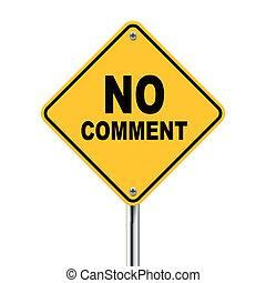 comentario, no, ilustración, roadsign, amarillo, 3d