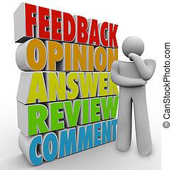 comentario, reacción, pensamiento, revisión, persona,...