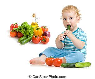 comer, alimento saudável, estúdio, criança, tiro