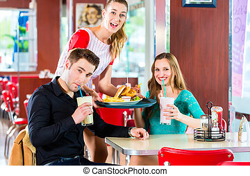 comer,  diner, pessoas, alimento, restaurante, rapidamente, americano, ou