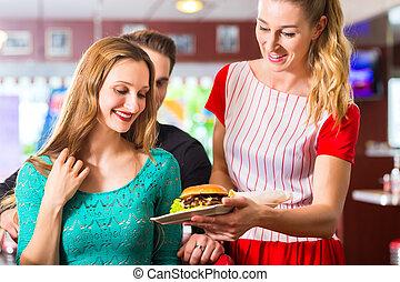 comer,  diner, pessoas, restaurante, hambúrguer, americano, ou
