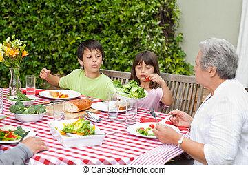 comer, família, jardim, feliz