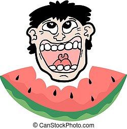comer, feliz, melancia, rosto