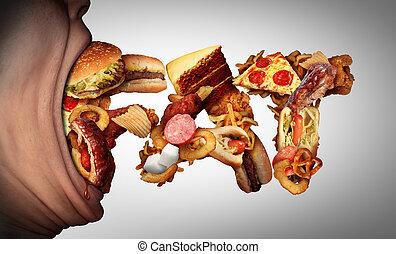 comer, gorda, alimento